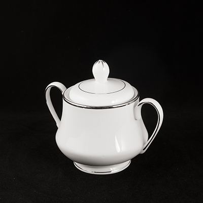 White With Silver Trim China Sugar Bowl  www.Raphaels.com - Call to place your rental order today! 858-689-7368 - www.raphaels.com