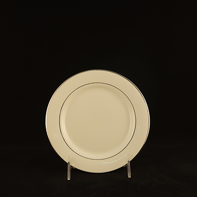 "Ivory With Silver Trim China Bread / Butter Plate 7""  www.Raphaels.com - Call to place your rental order today! 858-689-7368 - www.raphaels.com"