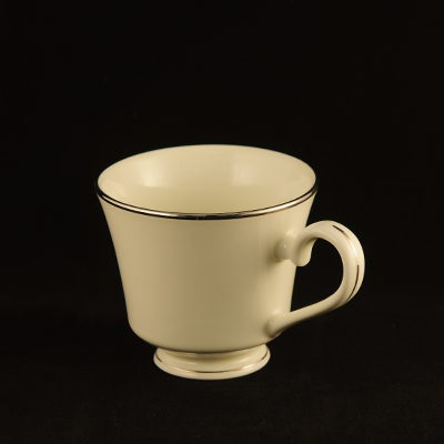 Ivory With Silver Trim China Cup  www.Raphaels.com - Call to place your rental order today! 858-689-7368 - www.raphaels.com