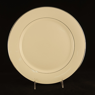 "Ivory With Silver Trim China Dinner Plate 10-1/2""  www.Raphaels.com - Call to place your rental order today! 858-689-7368 - www.raphaels.com"