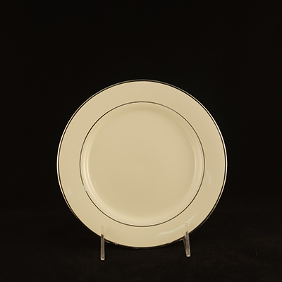 "Ivory With Silver Trim China Salad Plate 8""  www.Raphaels.com - Call to place your rental order today! 858-689-7368 - www.raphaels.com"