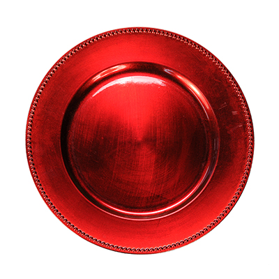 "Red Charger Plate 13""  www.Raphaels.com - Call to place your rental order today! 858-689-7368 - www.raphaels.com"