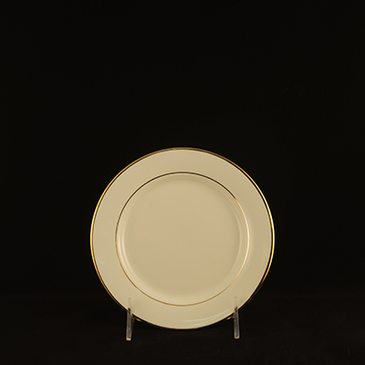 "Ivory With Gold Trim China Bread/Butter Plate 7""  www.Raphaels.com - Call to place your rental order today! 858-689-7368 - www.raphaels.com"