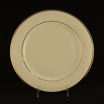 "Ivory With Gold Trim China Dinner Plate 10-1/2""  www.Raphaels.com - Call to place your rental order today! 858-689-7368 - www.raphaels.com"