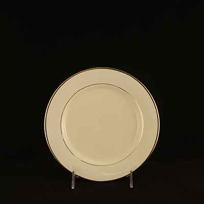 "Ivory With Gold Trim China Salad Plate 8""  www.Raphaels.com - Call to place your rental order today! 858-689-7368 - www.raphaels.com"