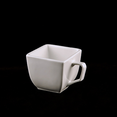 Square White China Square Cup  www.Raphaels.com - Call to place your rental order today! 858-689-7368 - www.raphaels.com