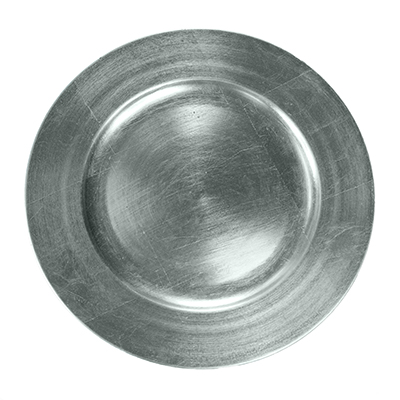 "13"" Charger Plate Silver Leaf  www.Raphaels.com - Call to place your rental order today! 858-689-7368 - www.raphaels.com"