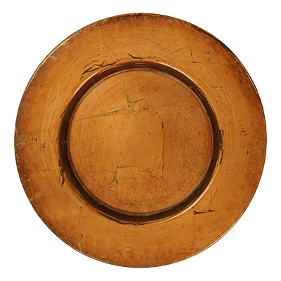 "13"" Charger Plate Copper  www.Raphaels.com - Call to place your rental order today! 858-689-7368 - www.raphaels.com"
