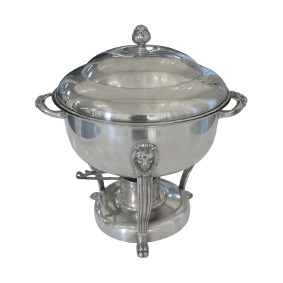 Round Chafing Dish 8 Qt Silver  www.Raphaels.com - Call to place your rental order today! 858-689-7368 - www.raphaels.com
