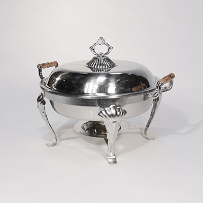 Round Chafing Dish 9 Qt Stainless Steel  www.Raphaels.com - Call to place your rental order today! 858-689-7368 - www.raphaels.com