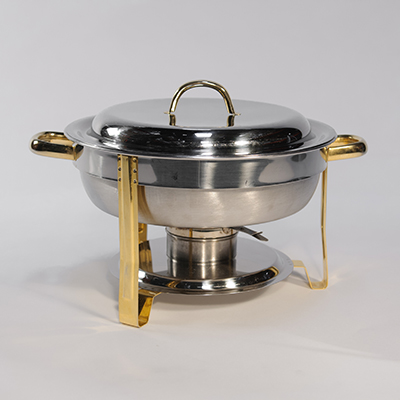 Round Chafing Dish 3 Qt Stainless Steel  www.Raphaels.com - Call to place your rental order today! 858-689-7368 - www.raphaels.com