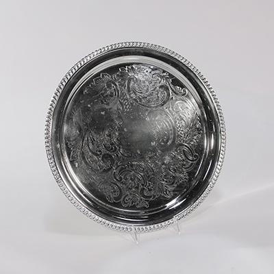 "Silver Tray, 12"" Round    www.Raphaels.com - Call to place your rental order today! 858-689-7368 - www.raphaels.com"