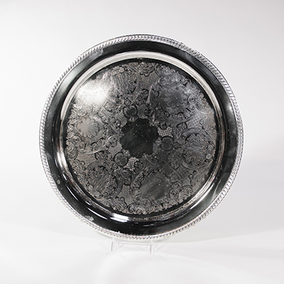 "Silver Tray, 19"" Round    www.Raphaels.com - Call to place your rental order today! 858-689-7368 - www.raphaels.com"