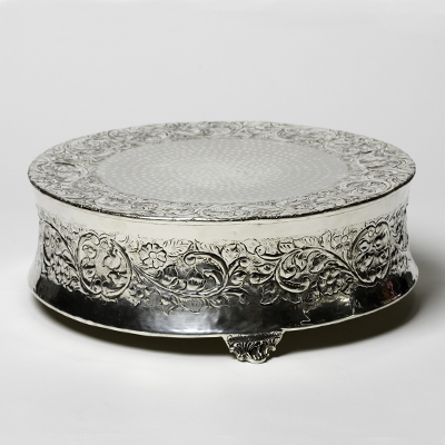 "Cake Stand 20"" Round Silver  www.Raphaels.com - Call to place your rental order today! 858-689-7368 - www.raphaels.com"