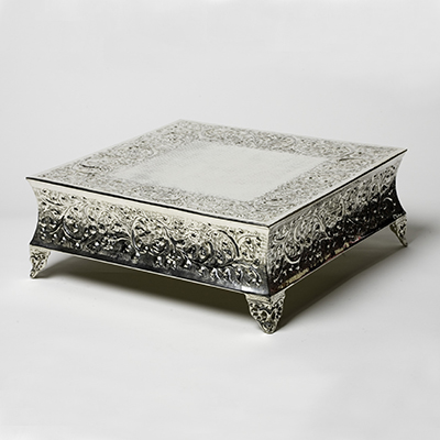 "Cake Stand 20"" Square Silver  www.Raphaels.com - Call to place your rental order today! 858-689-7368 - www.raphaels.com"