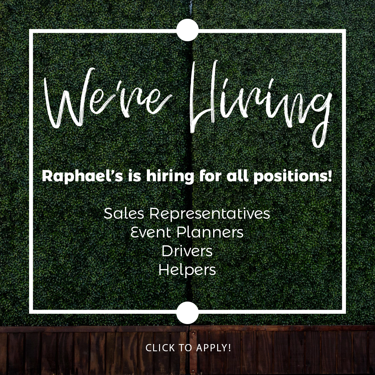 Join The Team - Raphael's Party Rentals